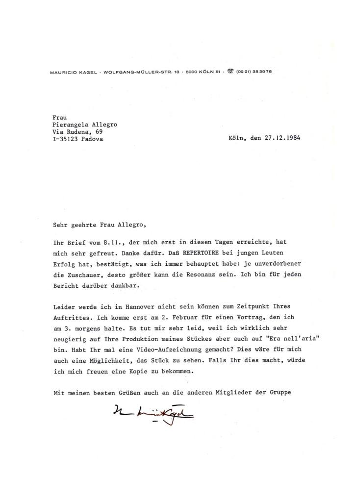 lettera di Mauricio Kagel